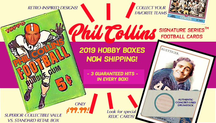 Phil Collins football cards - hobby boxes shipping now